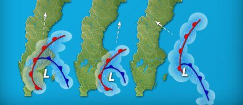 Tre varianter på lågtryck som rör sig upp söderifrån över Sverige