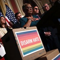 Förespråkare för striktare vapenkontroll talar vid en av Demokraternas presskonferenser i Washington i fredags. Det står avväpna hatet på ett plakat.