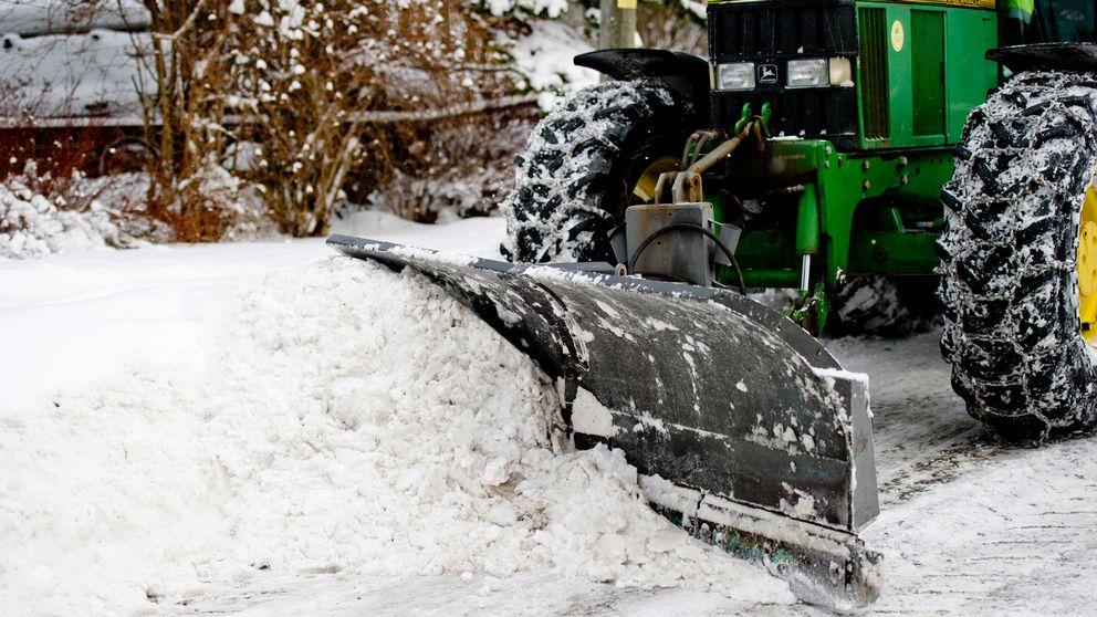 snöröjning, snöskottning, traktor, snö, vinter, dag