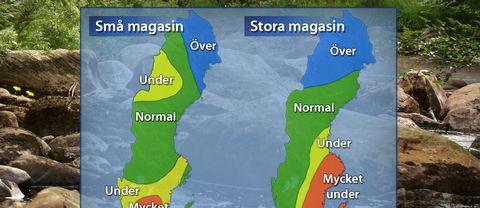 Låga eller mycket låga grundvattennivåer i Sydsverige, källa SGU.