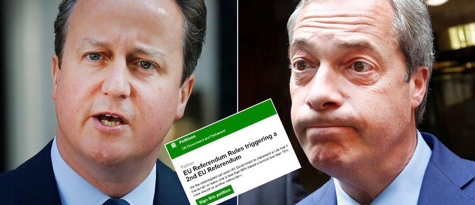 Valresultatet fick David Cameron (till vänster) att avgå som premiärminister och Ukip:s Nigel Farage (till höger) att jubla av lycka, nu kräver hundra tusentals namnunderskrifter en ny folkomröstning om det brittiska EU-medlemsskapet.