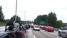 bilkö efter broolycka i Södertälje
