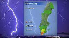 Grov uppskattning av antal registrerade blixtnedslag under perioden 23-26 juni.