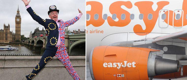 Ryanairs vd Michael O'Leary i en tudelad kostym mönstrad med Storbritanniens och EU:s flagga och ett Easyjet-plan.