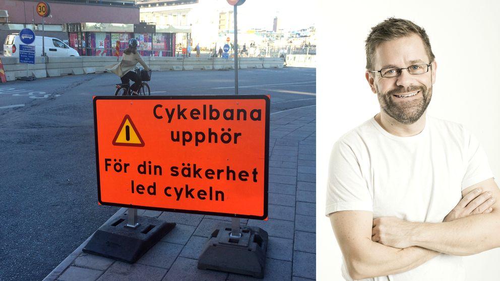 Cykelskylt vid Slussen samt Krister Isaksson