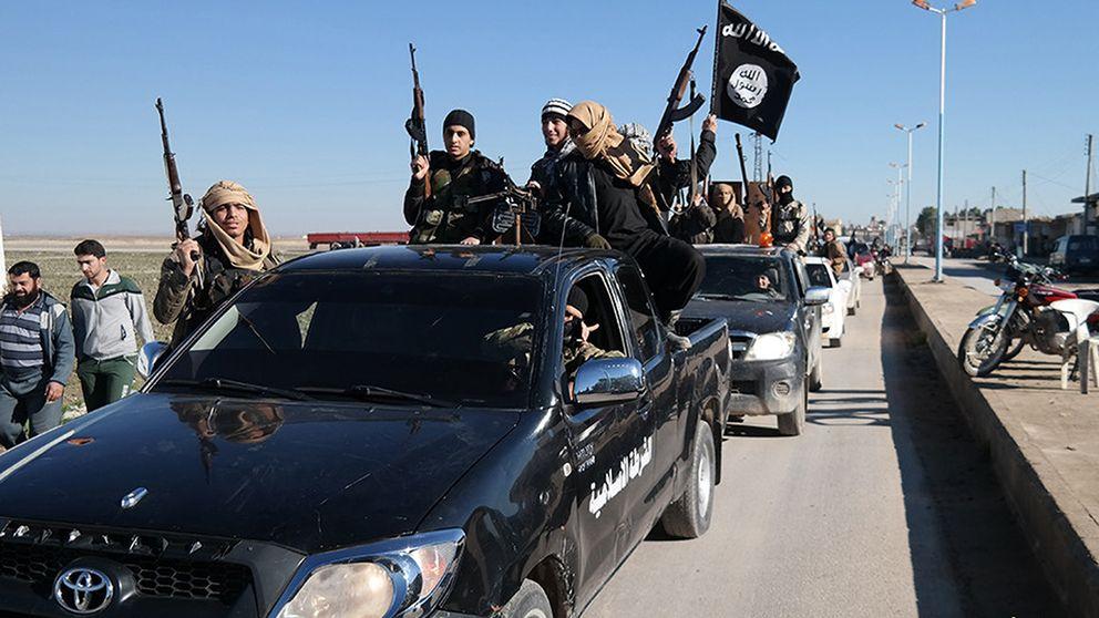 Medlemmar i Islamiska staten i staden Tel Abyad i nordöstra Syrien. Bilden är tagen 2015.
