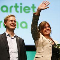 Miljöpartiets språkrör Gustav Fridolin och Isabella Lövin
