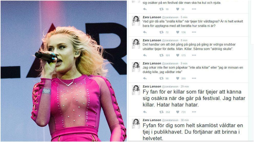 Zara Larsson samt hennes twitterflöde.