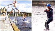 Ett bildkollage. Ena bilden visar barn som hoppar i vattnet från en pir. Den andra visar någon som åker wakeboard.