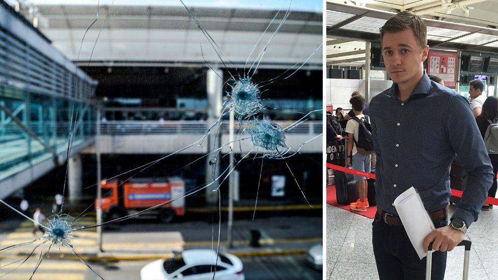 I vänstra bilden sysn skotthål i en glasruta på Istanbuls flygplats och till höger syns Hans Engqvist inne på flygplatsen.