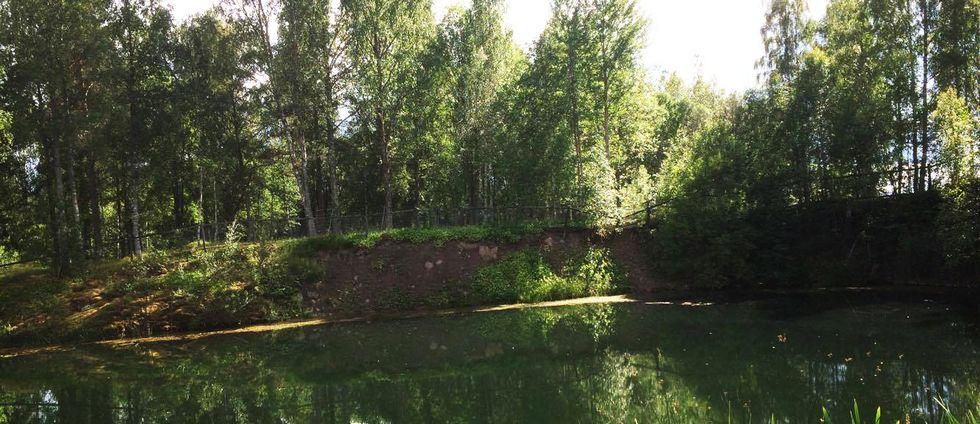 Här hittades kvinnan i ett vattenfyllt gruvhål vid Rällingsberg utanför Långshyttan.