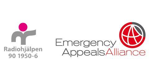 Logotyper för Radiohjälpen och Emergency Appeals Alliance.