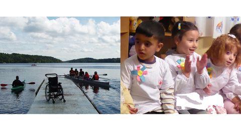 Bilden t.v. en brygga med en rullstol och i vattnet två kajaker med paddlare. Bilden t.h. närbild på tre barn med vita förkläden över sina kläder i förskolemiljö.
