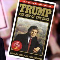 """Donald Trump och omslaget på hans bok """"The Art of the Deal"""" från 1987."""
