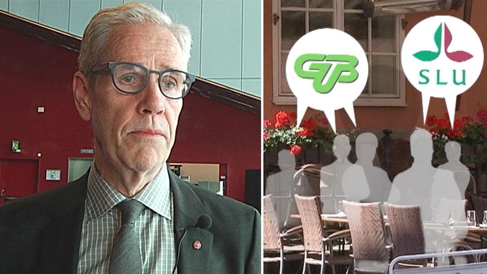 Till vänster landstingsrådet Börje Wennberg, till höger en bild på restaurang Domtrappkällaren, där flera chefer på Gamla Uppsala buss bjöds på en helkväll.