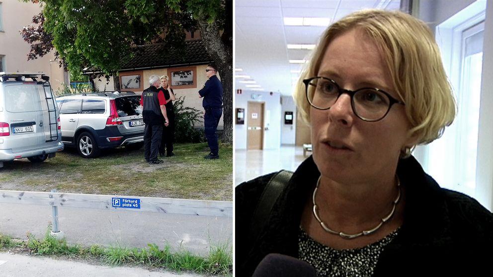 Polisens tekniker arbetade under onsdagen i lägenheten. Från åklagaren var det dock locket på om fallet.