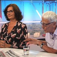 Ebba Witt-Brattström och Lars Melin debatterar i Gomorron.