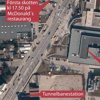 Kartan beskriver händelseförloppet vid köpcentret.