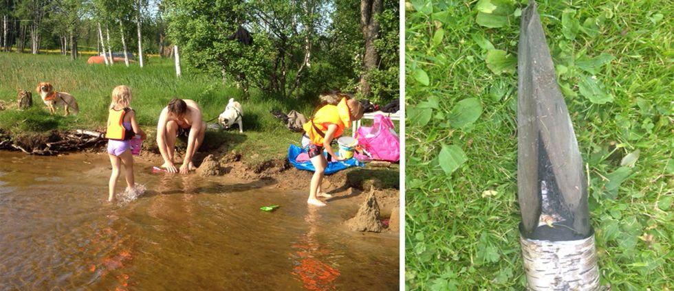 Familjen Ahlberg badar ofta där pålen hittades.