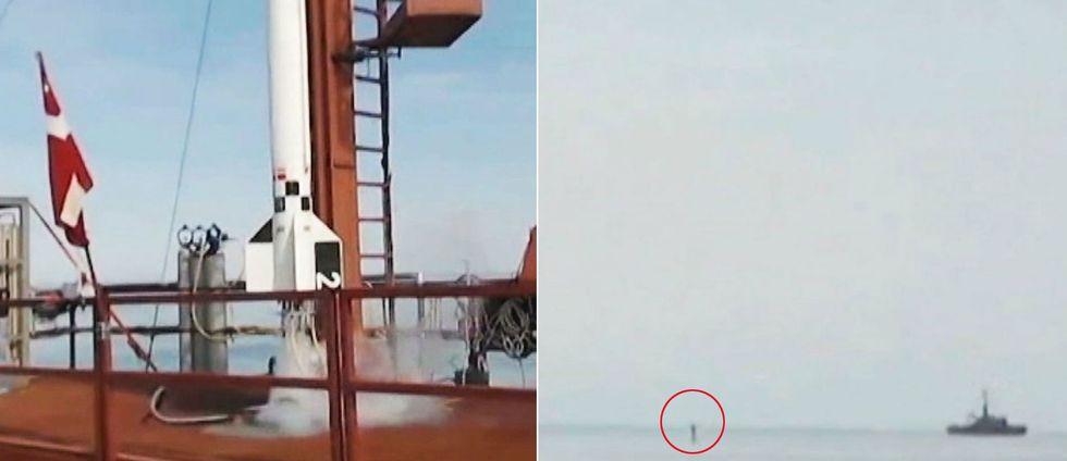 Här kraschar de danska amatörernas raket i havet