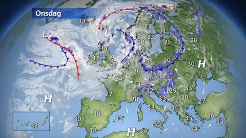 Varm luft täcker stora delar av Europa, allmänt över 30 grader och lokalt uppåt 40 grader. Värme och fukt ger dock värmeåskväder på många håll och kan lokalt ge stora regnmängder. Svalare och torrare luft från Atlanten har nu tagit sig in över Skandinavien, så för svensk del väntar mer normalt sommarväder i veckan.