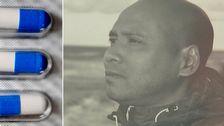 Delad bild: Pencillintabletter och en bild på Tim som dog av en pencillinkur.