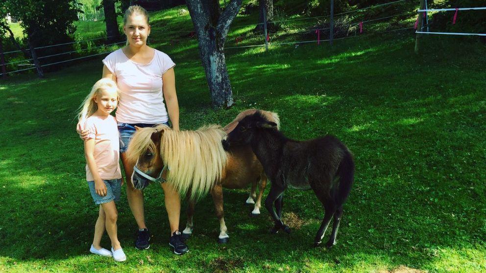 Emelie Karlsson med systerdottern Alicia tillsammans med shettlandsstoet Daisy och mulan Dolly