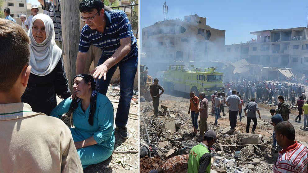 En kvinna sörjer döda anhöriga efter attackerna i Syrien.