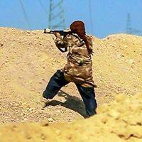 Stridande från IS vid fronten i Deir el-Zour-provinsen i Syrien