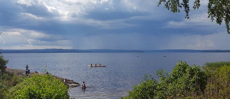 Såväl sol som skur på avstånd i Klässbol i Värmland den 22 juli.