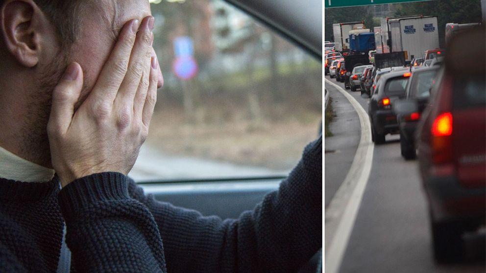 Trött bilförare gnuggar sig i ögonen. Trafikkö.