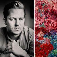 """Författaren Anders Rydell. Emil Noldes målning """"Blumengarten"""" som stals av nazisterna 1939 och mellan 1967 och 2009 fanns i Moderna museets samling."""