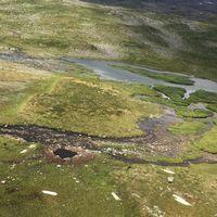 Kratern efter postflygsolyckan i Jokkmokksfjällen. Oajevágge