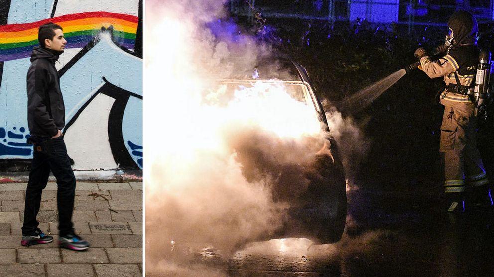 Showan Shattak och bilbrand i Malmö