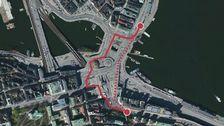 Flygbild över Slussen med cykel- och promenadväg utritad