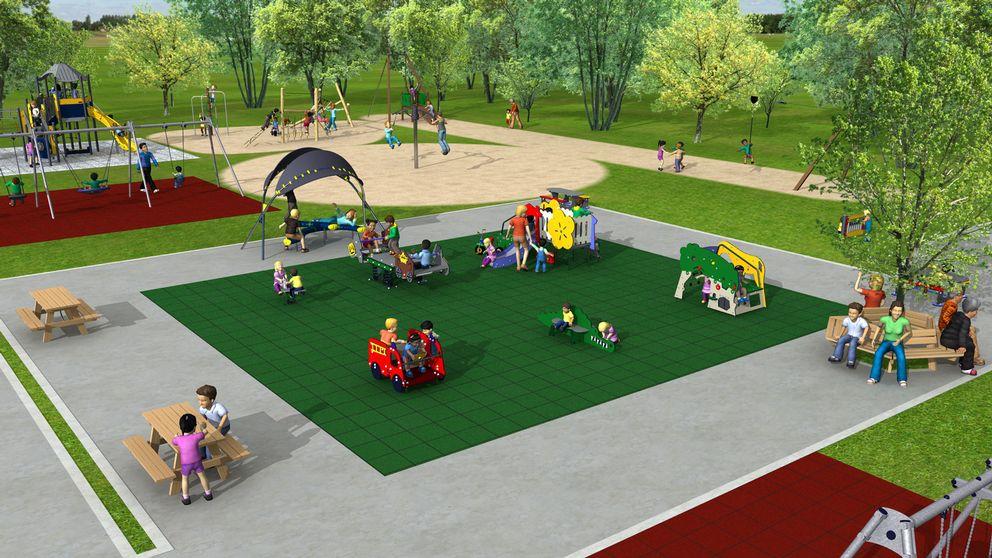 Konceptskiss över den nya lekparken som byggs i Skinnskatteberg.
