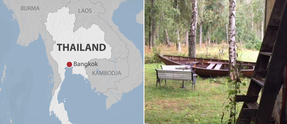 Karta över Thailand samt bild på sommarstugan.