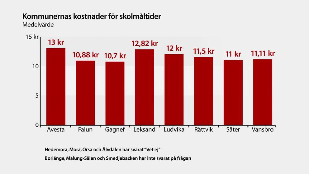 Falun och Gagnef kommun lägger minst på skolmaten