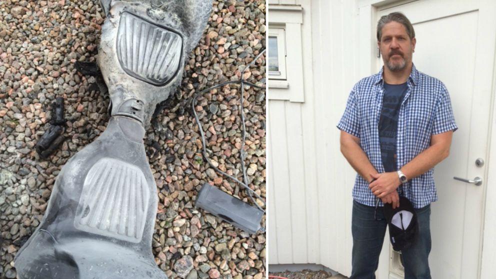 Den utbrunna hoverboarden ligger på grusgången framför villan. Johan Heijman poserar.