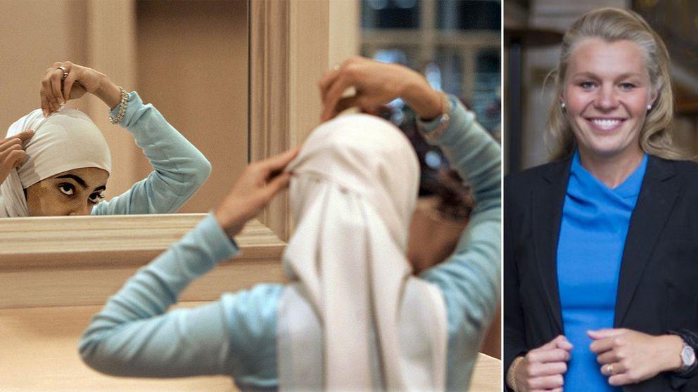 TILL VÄNSTER TT_BILD från 2006: Kvinna i Alabama. Till höger moderaten Sophia Jarl (M).