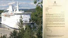 Bildmontage med asylfartyget Ocean Gala och brevet.