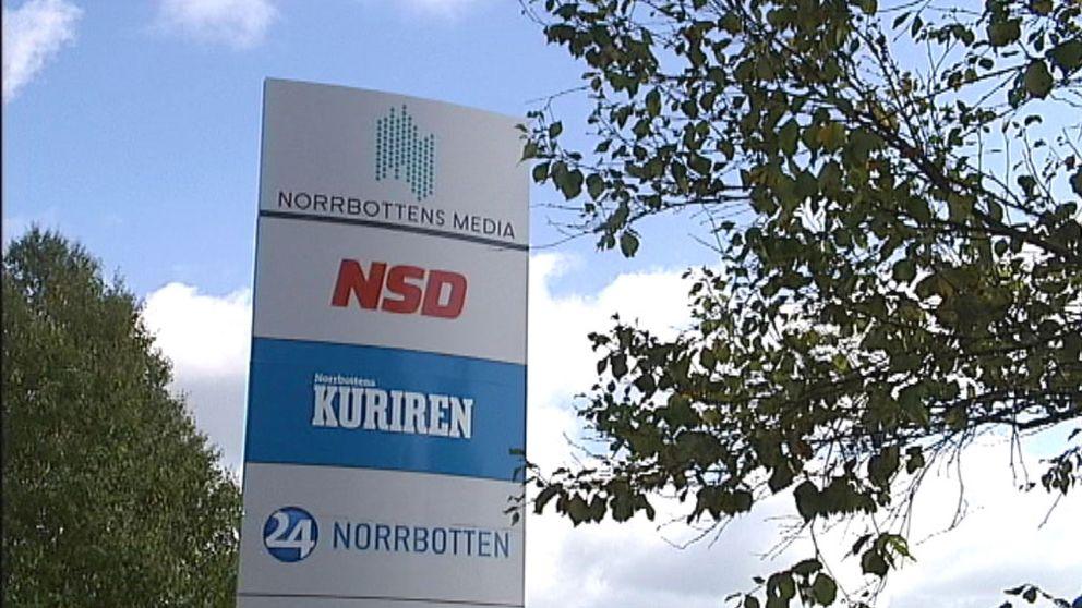 Skylt Norrbottens Media Luleå