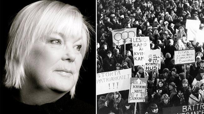 """Helene Bergman och kvinnokamp. TT """"STOCKHOLM 19790308 Demonstrationståg för jämlikhet, rättvisa, fred och utveckling vid firandet av den internationella kvinnodagen 8 mars 1979 i Stockholm. Den internationella kvinnodagen (den 8 mars) firas av kvinnogrupper över hela världen. Datumet firas också i FN och i många länder är det en nationell helgdag. Foto: Ragnhild Haarstad / SVD / SCANPIX / Kod: 11014"""""""