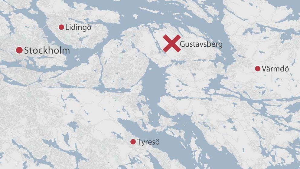 Karta som visar Gustavsberg i Värmdö