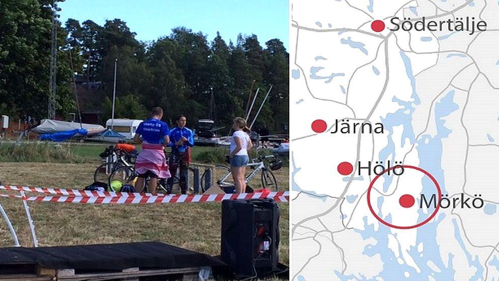 Triathlondeltagare och en karta som visar var Mörkö i Södertälje ligger.
