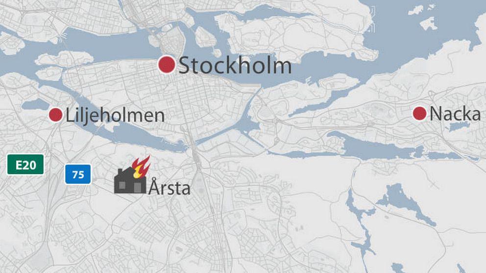 Karta som visar Årsta i Stockholms kommun.