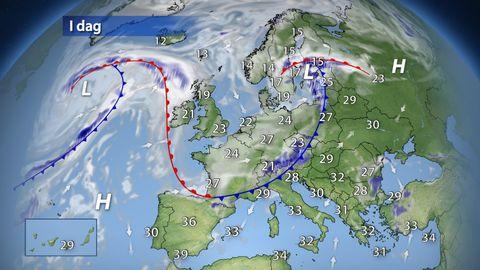 I dag: Svalare luft sveper tillfälligt fram över Europa och föregås av regn, skurar och åska. Lokalt blir det rikliga regnmängder och kraftiga byvindar. Medelhavsländerna berörs egentligen inte i större utsträckning med värme uppåt 30-40 grader.