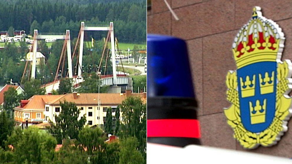 vy över Strömsund, och bild på polisbils blåljus och polisens emblem
