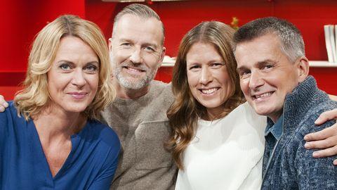 Programledarna Inger Ljung Olsson, Beppe Starbrink, Linda Olofsson och Pekka Heino.
