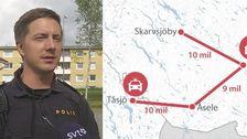 Jonny Jonsson, polis i Strömsund, och en karta över långa utryckningstider.